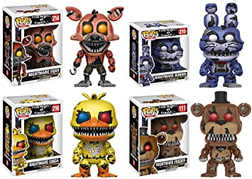Funko Pop! Five Nights At FreddyS: Nightmare Foxy + Nightmare Bonnie + Nightmare Chica + Nightmare Freddy - Vinyl Figure Set New: Amazon.es: Juguetes y juegos