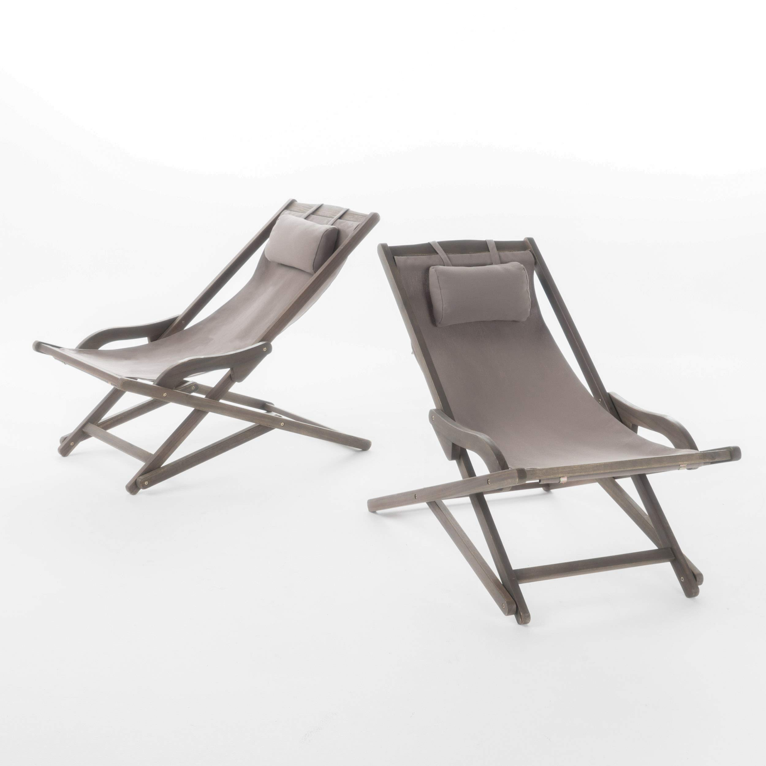 GDF Studio Northland Outdoor Wood and Canvas Sling Chair (Set of 2) (Grey)