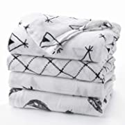 "Upsimples Newborn Baby Swaddle Blanket Unisex Soft Bamboo Muslin Swaddle Blankets 47"" x 47"" Large Receiving Blanket for Boys and Girls, Set of 4-Arrow/Feather/Tent/Crisscross"