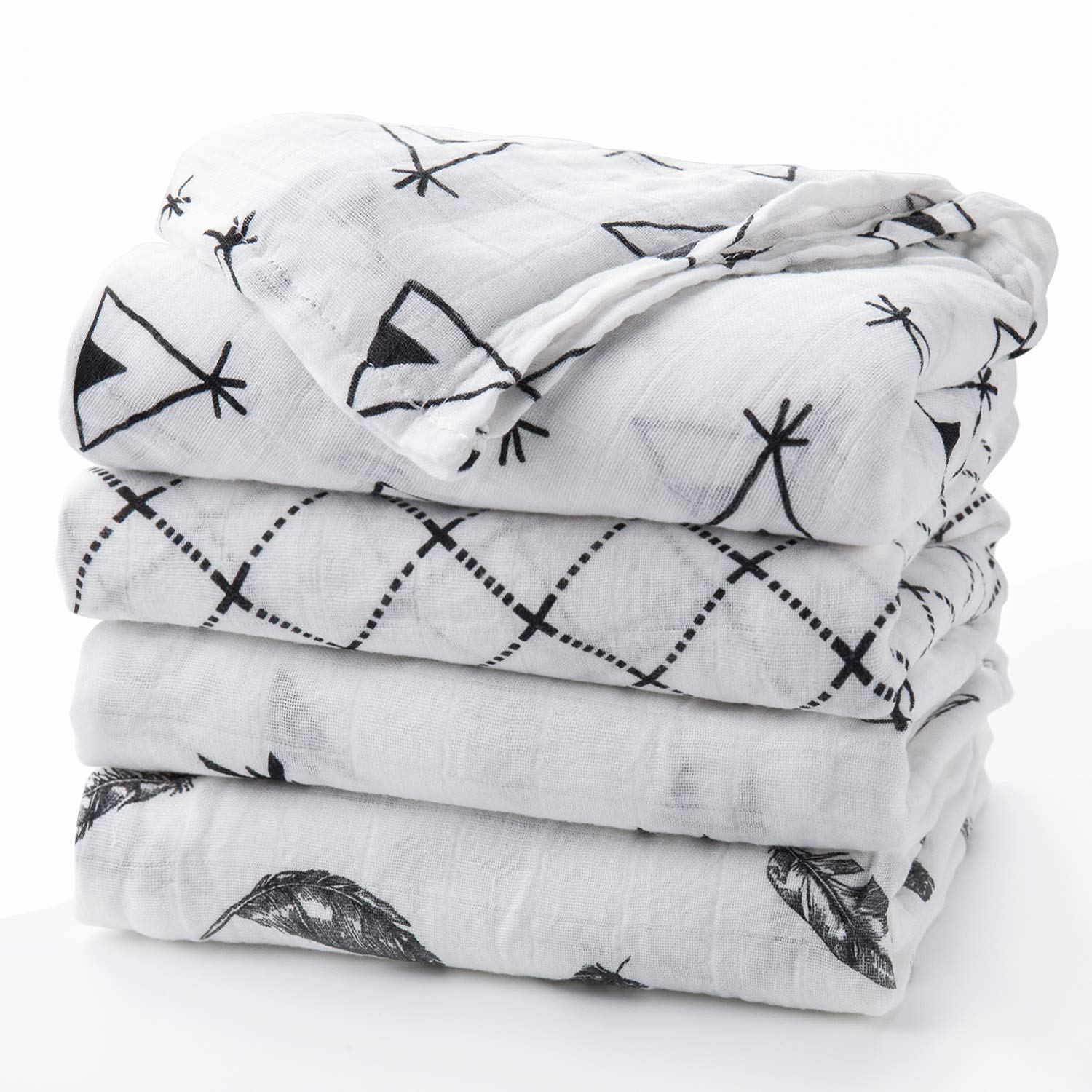 Baby Swaddle Blanket Upsimples Unisex Swaddle Wrap Soft Silky Bamboo Muslin Swaddle Blanket Neutral Receiving Blanket for Boys and Girls, Large 47 x 47 inches, Set of 4-Arrow/Feather/Tent/Crisscross