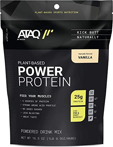 ATAQ Plant Based Protein Powder, Vegan, Vanilla, 25g Protein Pea, Rice, Flax, Chia, Pumpkin , Non GMO, Non Dairy, Non Soy, No Added Sugars, 1 lb Pouch, 13 Servings