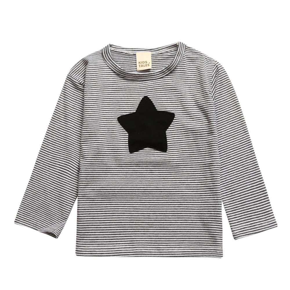Kids Tales Little Boys Girls Unisex Long Sleeve Striped Tee Star T-Shirt Fuzhou Shang Ku Trade Co. Ltd.