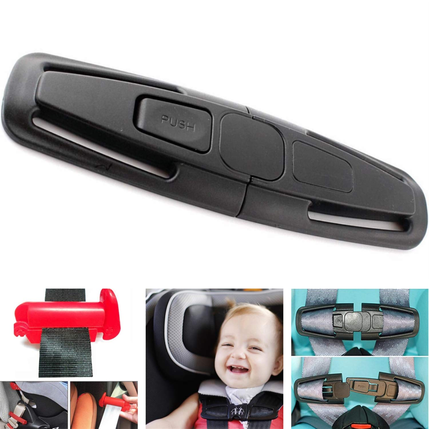Adjustable Guard Car Seat Chest Harness Clip and Car Seat Safety Belt Clip Buckle Universal Replacement for Baby and Kids Trend