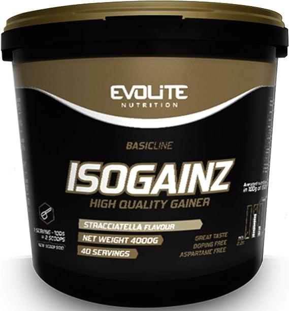 Evolite Nutrition IsoGainz Paquete de 1 x 4000g Gainer - Ganador de Masa - Aumento de Peso – Carbohidratos - Proteína de Suero Aislada y Concentrada ...