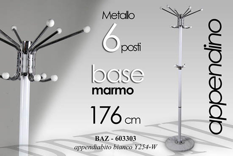 Idea casa attaccapanni appendiabiti a piantana in metallo bianco h 176 con base marmo