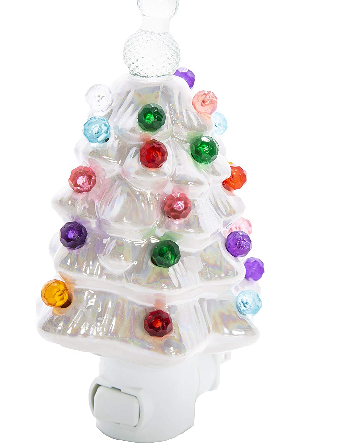 Relive White Pearlized Ceramic Christmas Tree Night Light