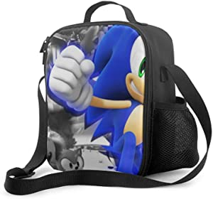 Reusable Lunch Bags So-ni-c the He-dge-hog Insulated Lunch Bag, Adjustable Suitable Boys/Girls Handbag with Drinks Holder, Lightweight Food Warming Tote for Camping