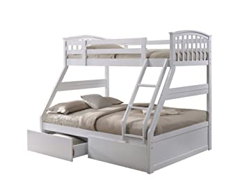 White Triple Sleeper Bunk Bed With Storage Drawers Amazon Co Uk