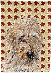 Caroline's Treasures SC9691GF Golden Doodle 2 Fall Leaves Flag Garden Size, Small, Multicolor