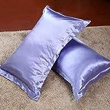 Magideal 2xSilky Soft Satin Standard Pillow Cushion Cover Pillowcase Bed Decor-Purple