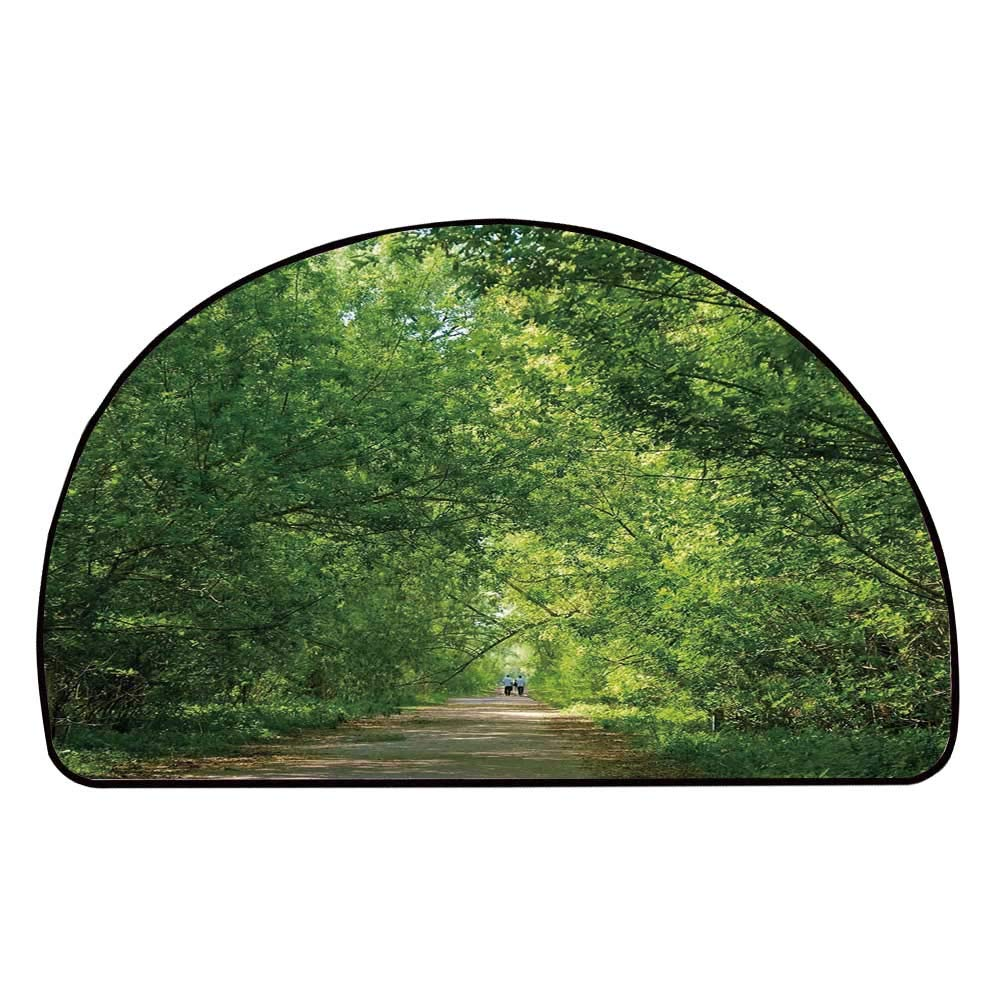 C COABALLA Landscape Comfortable Semicircle Mat,Fresh Forest Canopy Trees Over Footpath in an Old Park People Walking Natural Scenery for Living Room,11.8'' H x 23.6'' L
