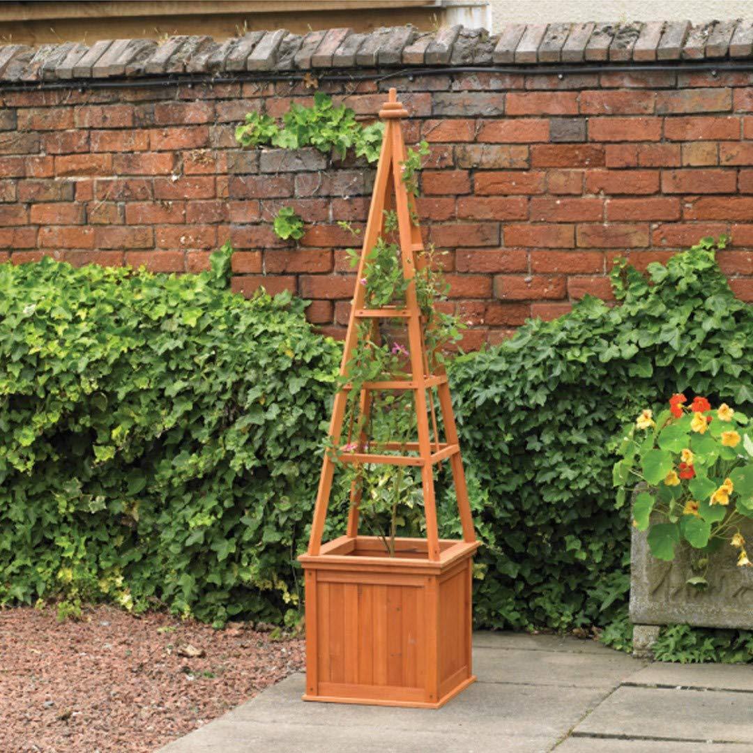 One Size Kingfisher PLANTER2 Obelisk Planter with Trellis Transparent