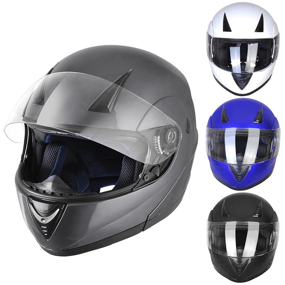 ReaseJoy ECER 22-05 Certified Flip Up Front Modular Motorcycle Helmet Full/Open Face Motorbike Helmet Bright White XL Generic
