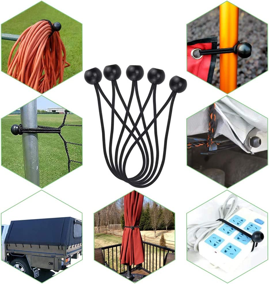 SNAGAROG 10pcs Ball Bungees Elastic Tarpaulin Ties Black Tarp Bungee Cords Straps and 10pcs Tarp Clips Outdoor Tarpaulin Clamps Windproof Awning Clamps Set Accessories for Tents//Pavilions//Banners