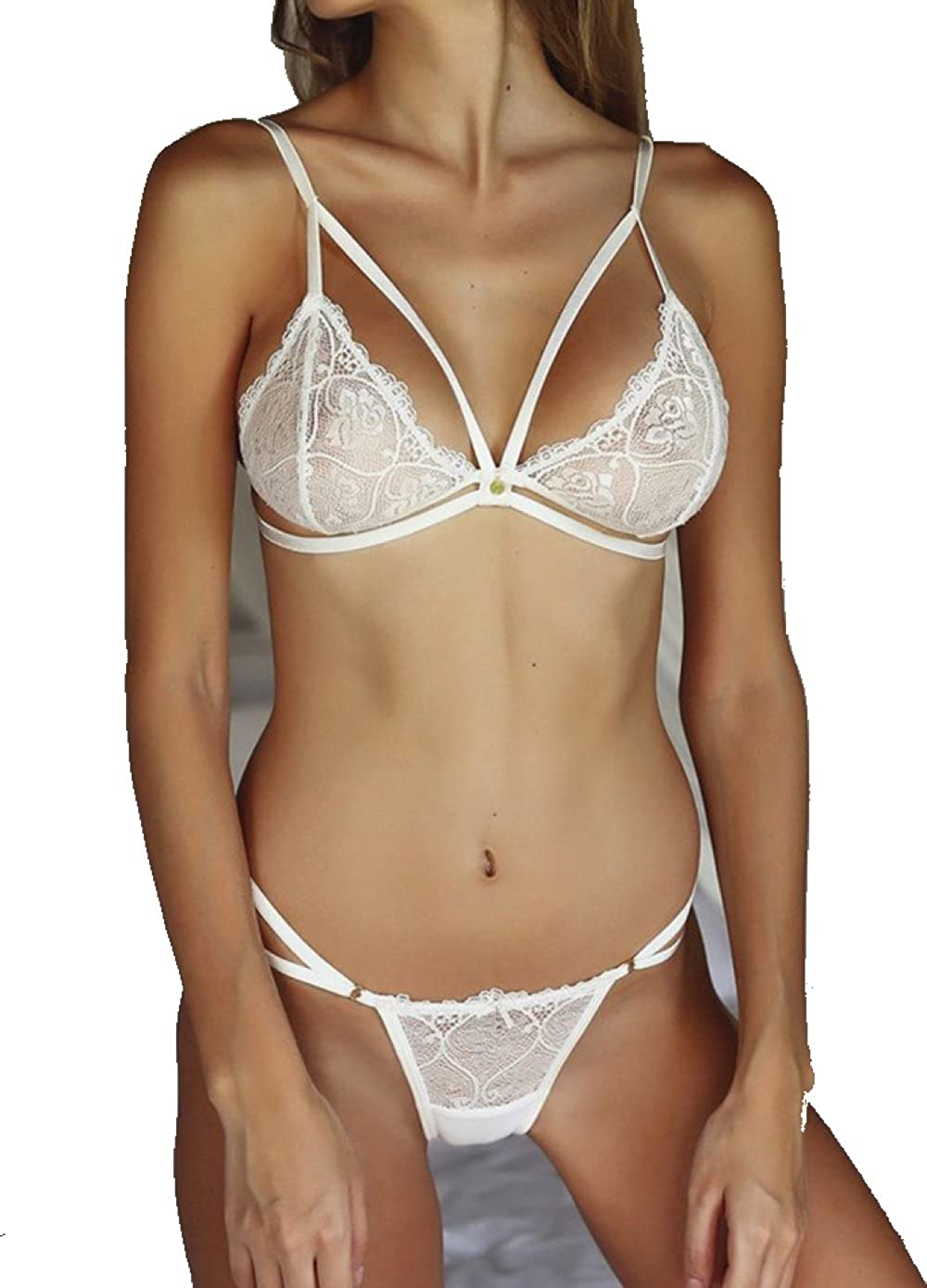 f6ecab9f24b Sexy Lingerie Set Lace Bra and Panty Set. Two Pieces Babdyoll Nightwear  Outfits