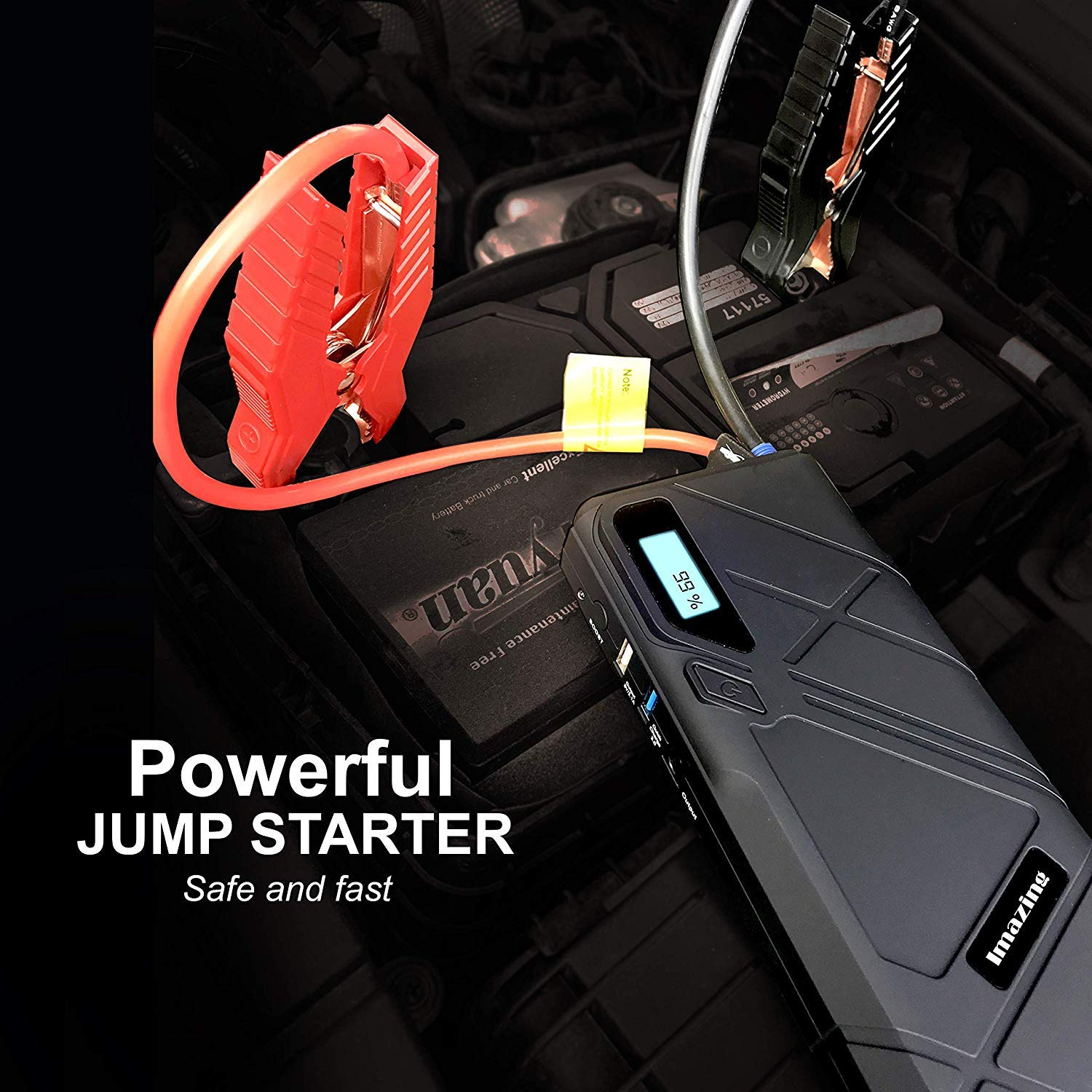 Imazing Portable Car Jump Starter Up to 8L Gas or 6L Diesel Engine Auto Battery Booster Power Pack Phone Power Bank With Smart Charging Ports Air Compressor Pump 1500A Peak 12000mAH
