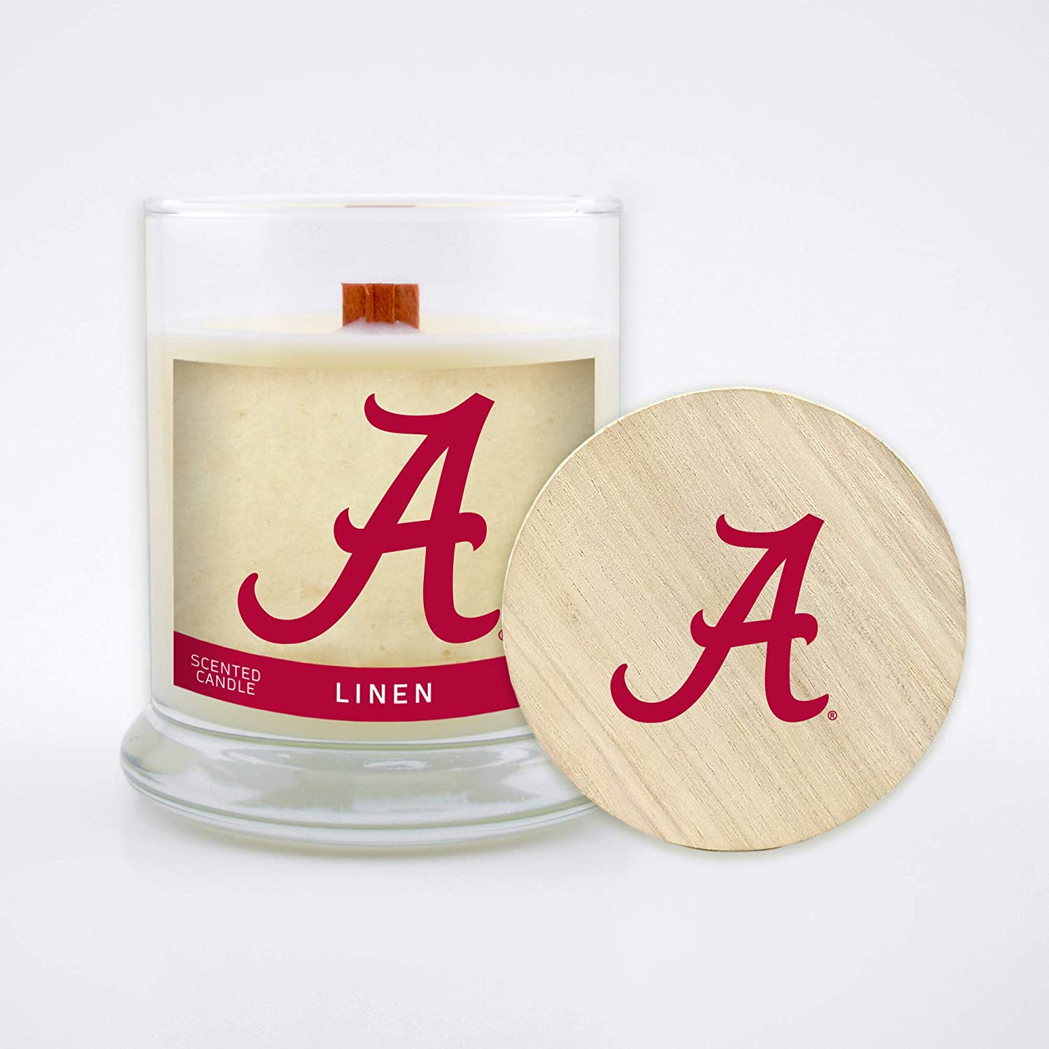 Worthy Promo NCAA Alabama Crimson Tide 8 oz Linen Scented Soy Wax Candle Wood Wick and Lid