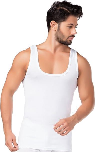 Tank Top 100/% Baumwolle Achselhemd Feinripp 6 Stück Herren Unterhemd weiß