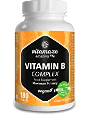 Complexe de la vitamine B fortement dosé à base de vitamines B1, B2, B3, B5, B6, B7, B9, B12, végétalien, quantité pour 6 mois, produit de qualité allemande sans stéarate de magnésium