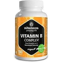 Complesso di Vitamina B ad alto dosaggio B1, B2, B3, B5, B6, B7, B9, B12 vegetale, confezione scorta per sei mesi. Prodotto di qualità tedesca senza stearato di magnesio, SODDISFATTI O RIMBORSATI!