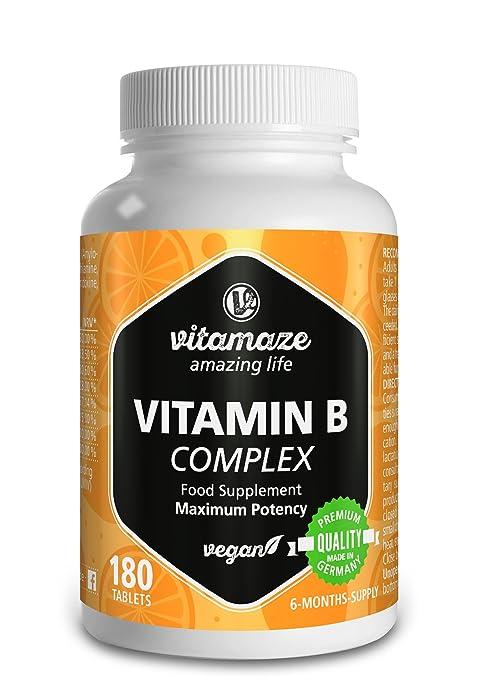 Vitamaze® Vitamina B Complex con 180 tabletas veganas de dosis alta del para 6 meses de suministro B1, B2, B3, B5, B6, B7, B9, B12 Hecho en Alemania ...