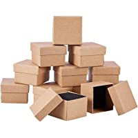 12 stycken kraft brun fyrkantig kartong smycken ringlådor smycken kartong papper detaljhandel presentförpackning för…