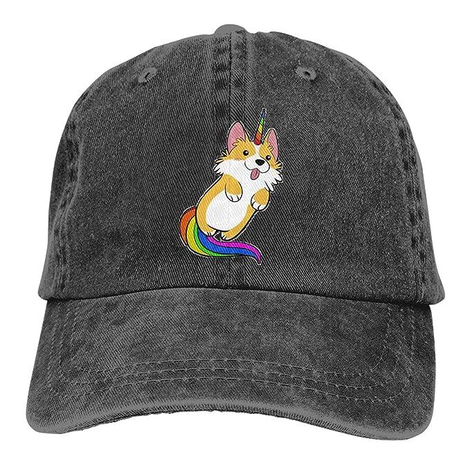 66a7e4c842c nordic runes Corgi Dog Unicorn Mens Baseball Cap Plain Denim Dad Snapback  Cowboy Hat for Men Women Unisex at Amazon Men s Clothing store