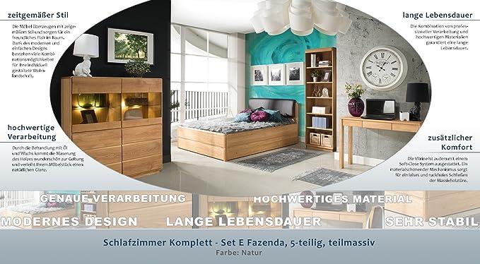 Schlafzimmer Komplett   Set E Fazenda, 5   Teilig, Teilmassiv, Farbe:  Natur: Amazon.de: Baumarkt