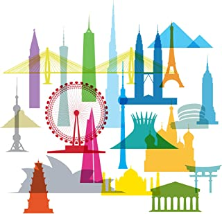 product image for WallCandy Arts Wall Decal, Colorful Icons Assorted Landmark Buildings