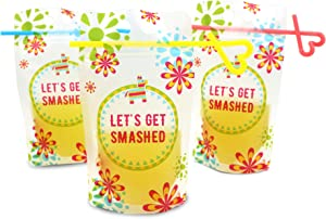 Fiesta Drink Pouches with Straw for Adults Freezable [50 Pack], Juice Pouches for Adults, Juice Pouches for Adults, Frozen Juice Container, Drink Bags Pouches Reusable, Adult Juice Pouch Bags
