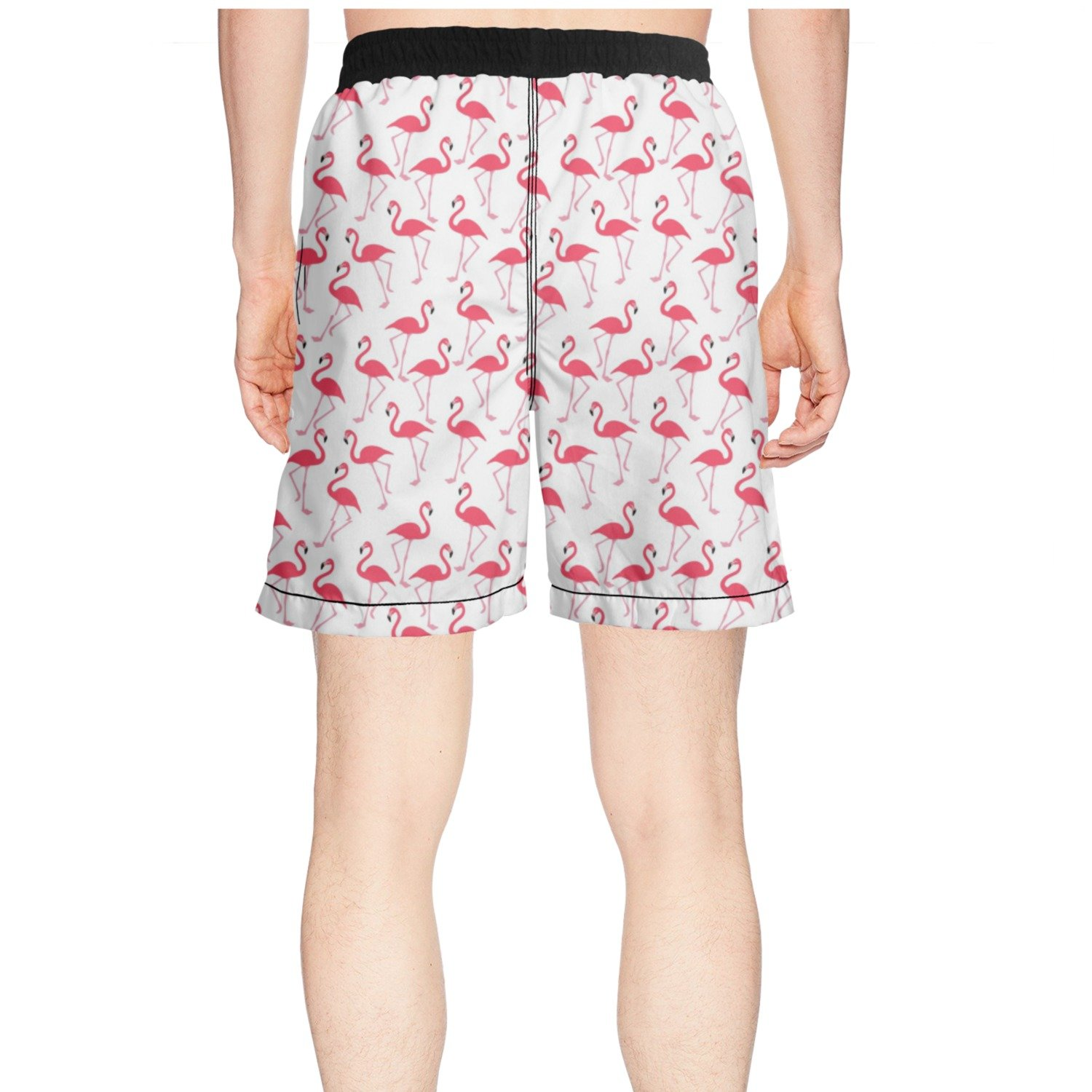 Eoyles Flamingo Red Beautiful Flower Summer Beachwear Quick Dry Shorts For Beach For Men Unique Trunks