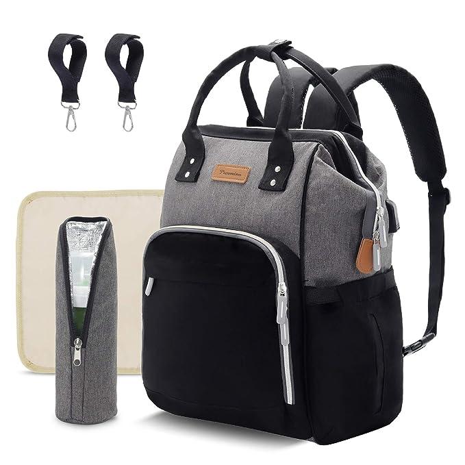 Laptop Backpack Waterproof Diaper Bag Nursing Bag Travel Nappy Tote Bags Multi-Function School Business Daypack Doctor Bag Paris Eiffel Tower Flowers