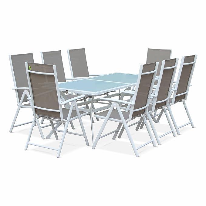 Salon de Jardin en Aluminium et textilène - Naevia - Blanc, Taupe - 8  Places - 1 Grande Table rectangulaire, 8 fauteuils Pliables