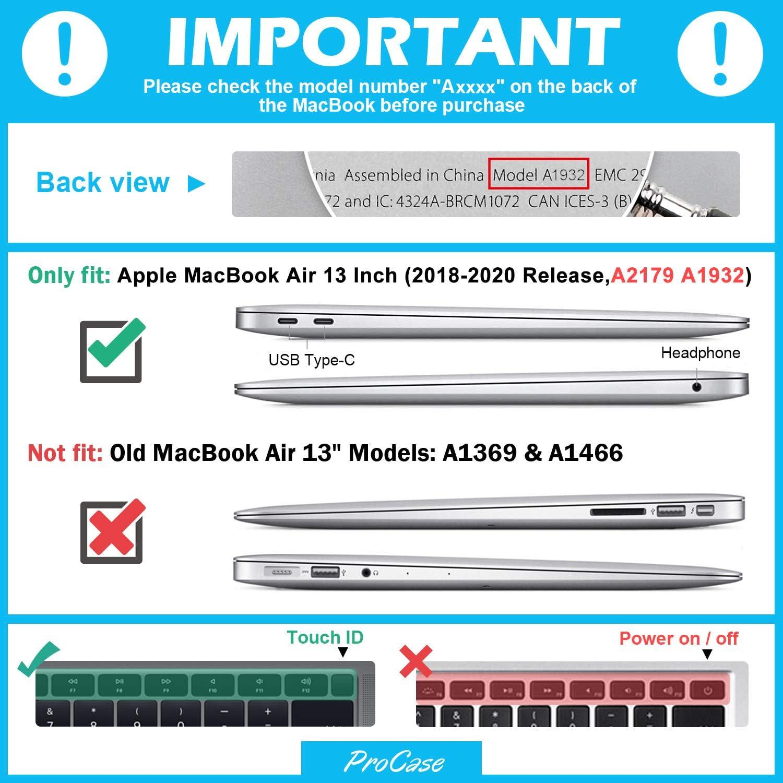 ProCase Carcasa Transparente con Soporte para MacBook Air 13 2018 2019 2020 A1932 A2179 Khaki Funda R/ígida de Capa Doble Transl/úcida con Pata Plegable para Apple MacBook Air 13 Retina con Touch ID