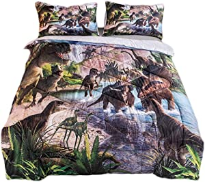 "ADASMILE A & S Kids Bedding Soft Dinosaur Comforter Set Twin Size 68"" x 86"" Dinosaur Prints Bed Set Boys Comforter with 2 Pillowcases Jurassic World Bedding Comforter Microfiber Fabric"