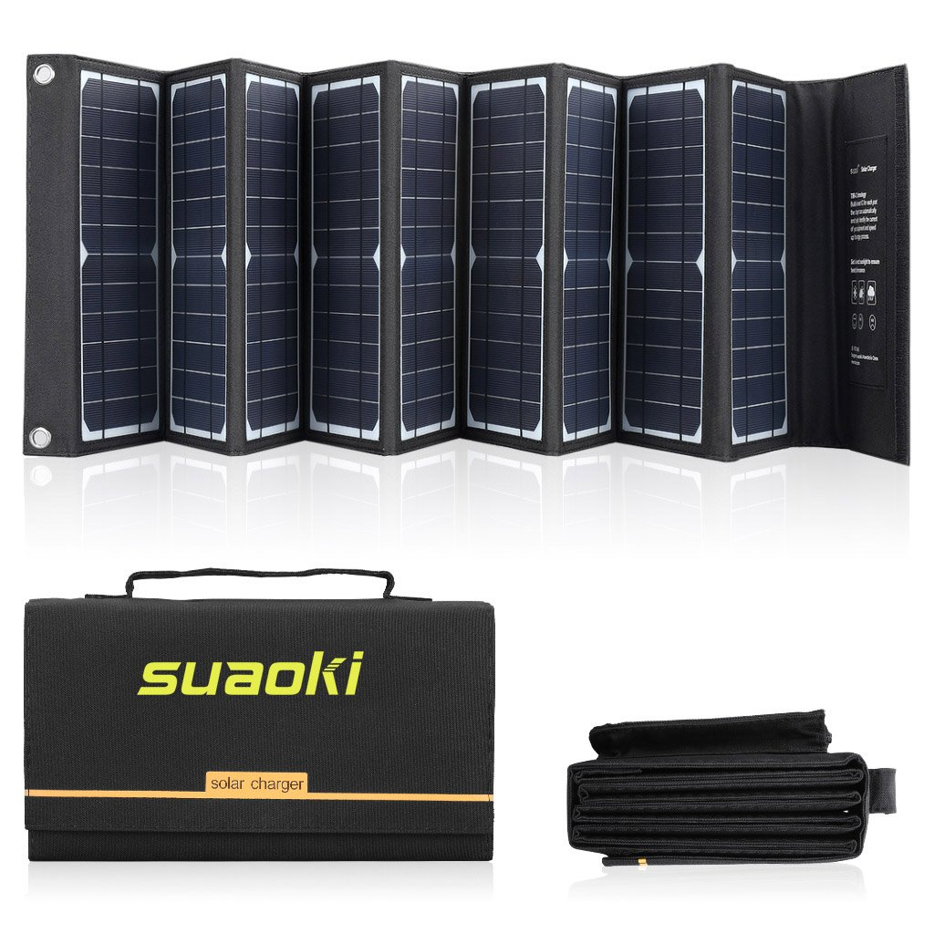 SUAOKI Solar Charger 60W Portable Solar Panel Foldable for Suaoki/Enkeeo/Goal Zero Yeti/Webetop/Paxcess/ROCKPALS Power Station Generator and Laptop Tablet GPS iPhone iPad Camera by SUAOKI