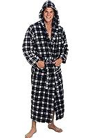 Alexander Del Rossa Mens Fleece Robe, Long Hooded Bathrobe