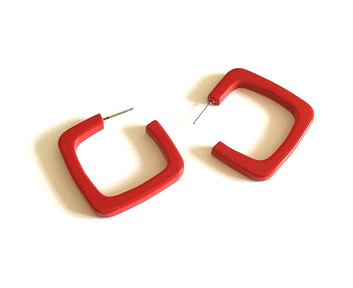 Cherry Red Geometric Square Quad Hoop Earrings