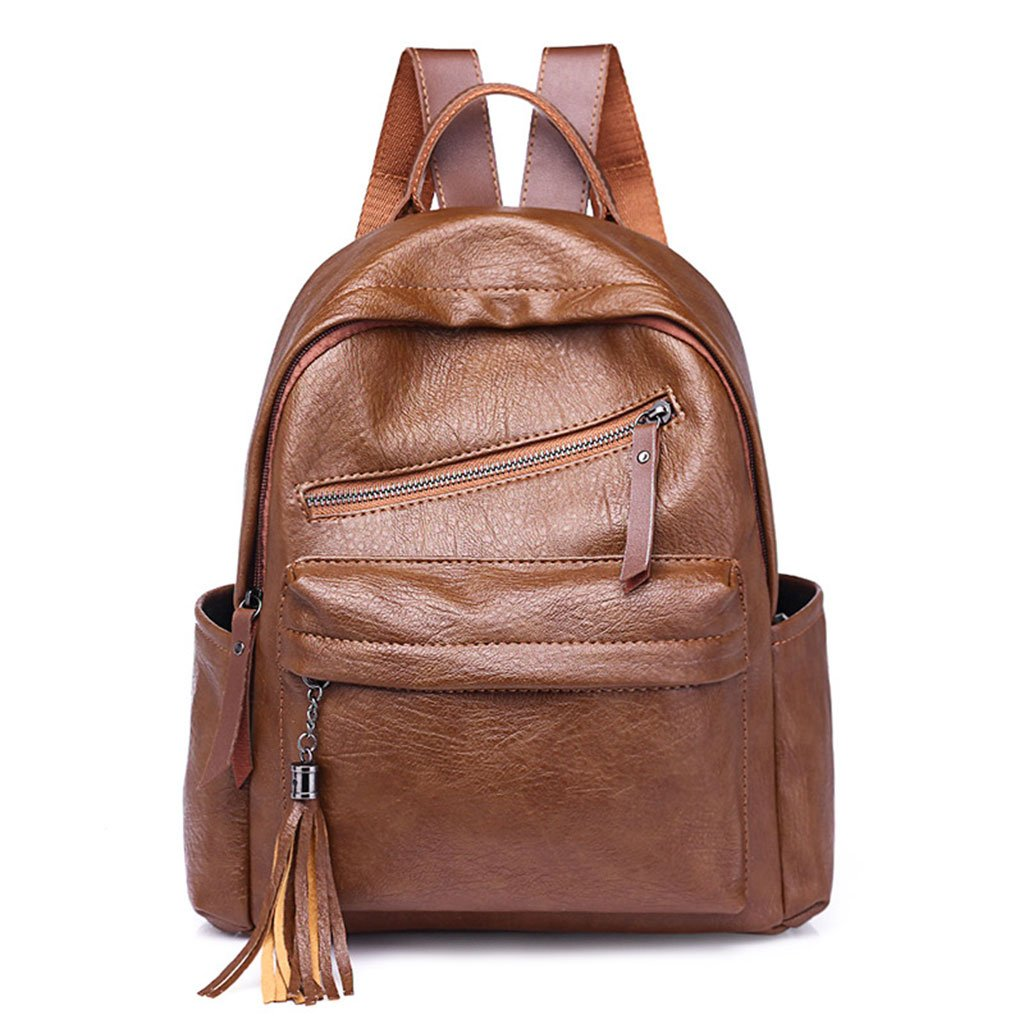 JAGENIE Women Girls Fashion PU Leather College Backpack With Tassels School Backpack Brown
