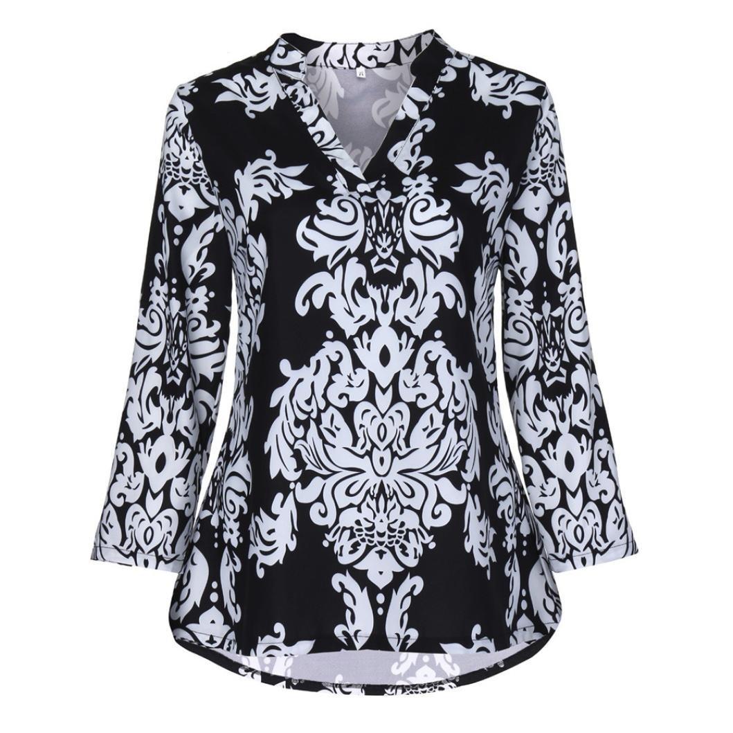 Yesmile Camisas Blusa Hombre Estampadas Florales de la túnica de Las Mujeres de la Moda Blusa Top con Cuello de Pico de la Manga del Rollo 3/4: Amazon.es: ...