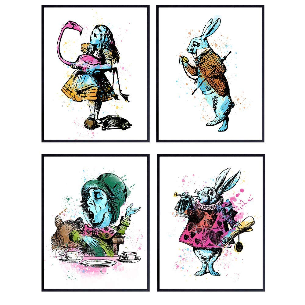 Alice in Wonderland, Mad Hatter, Cheshire Cat, White Rabbit Watercolor Wall Art Print Set - Home Decor for Girls or Kids Room, Bedroom, Bathroom - Great Gift for Walt Disney Fans, 8x10 Photos Unframed