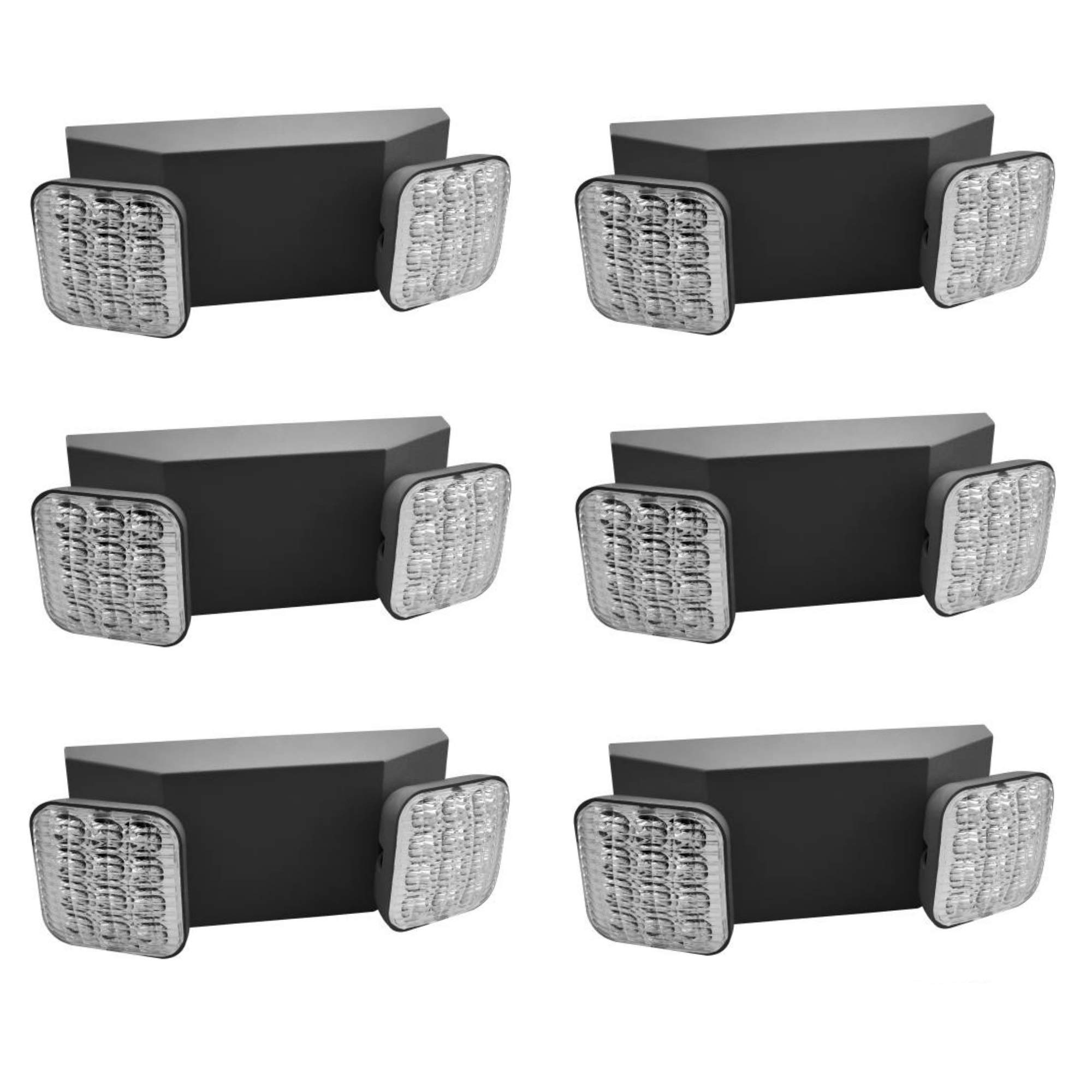 Hardwire LED Emergency Light Standard With Adjustable Heads, Backup Battery, UL Certified 6 Pack