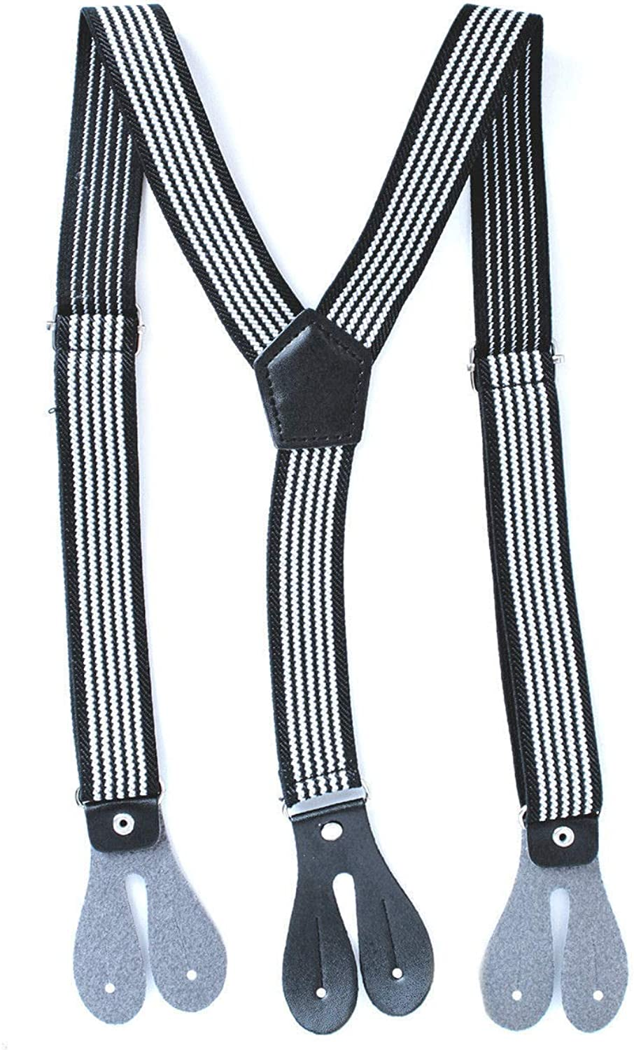 Parties Denims Trimming Shop Kids 25mm Wide Button Hole Suspenders Y Shape Elasticated Braces for Trousers 28 Long, Beige with Black /& White Stripe