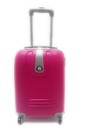 Trolley, medidas de Ryanair, plástico rígido, diseño de cabina con 4 ruedas, equipaje de mano, 50 x 35 x 19 cm, color fucsia: Amazon.es: Equipaje