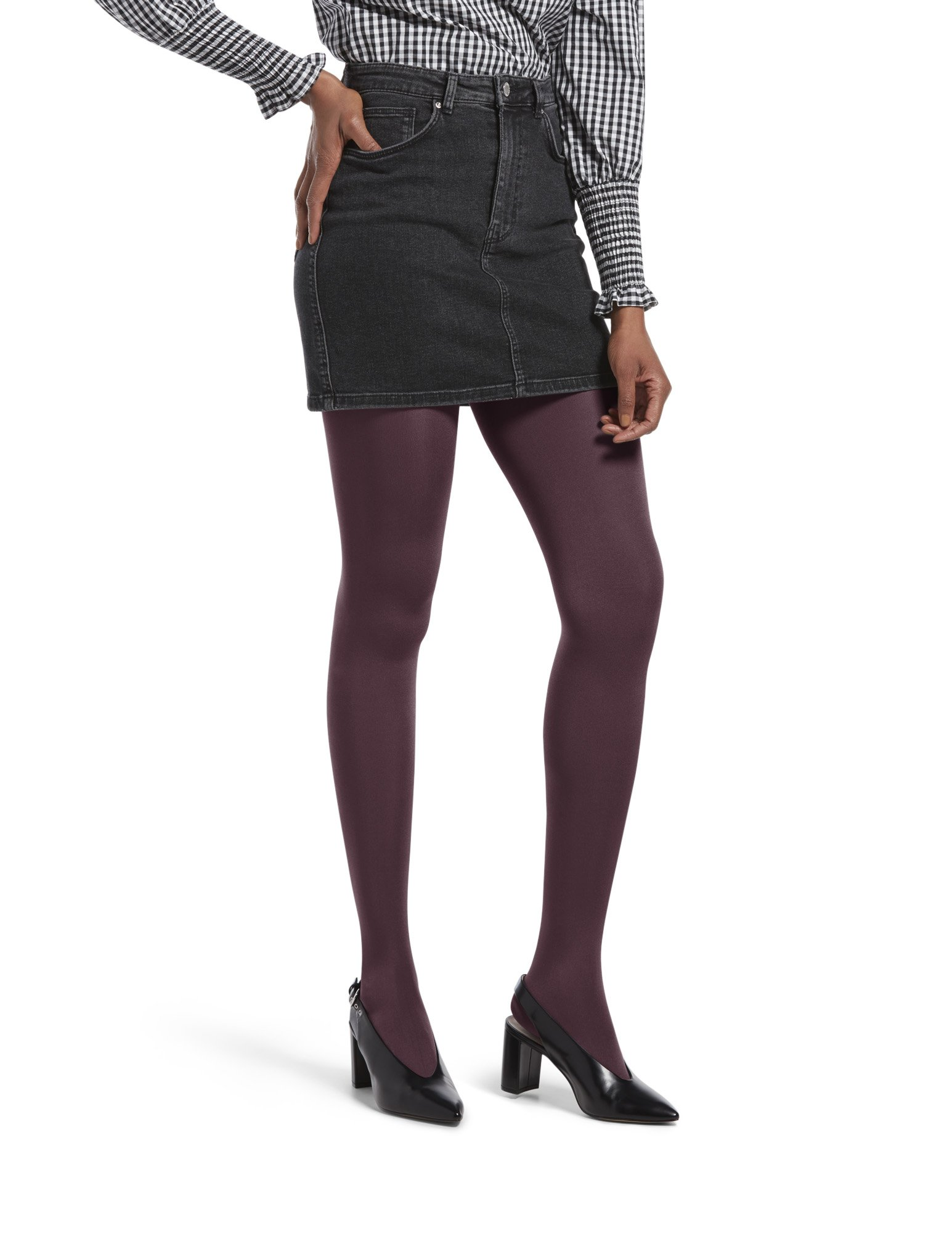 HUE Women's Luster Tights with Control Top, Currant, 2
