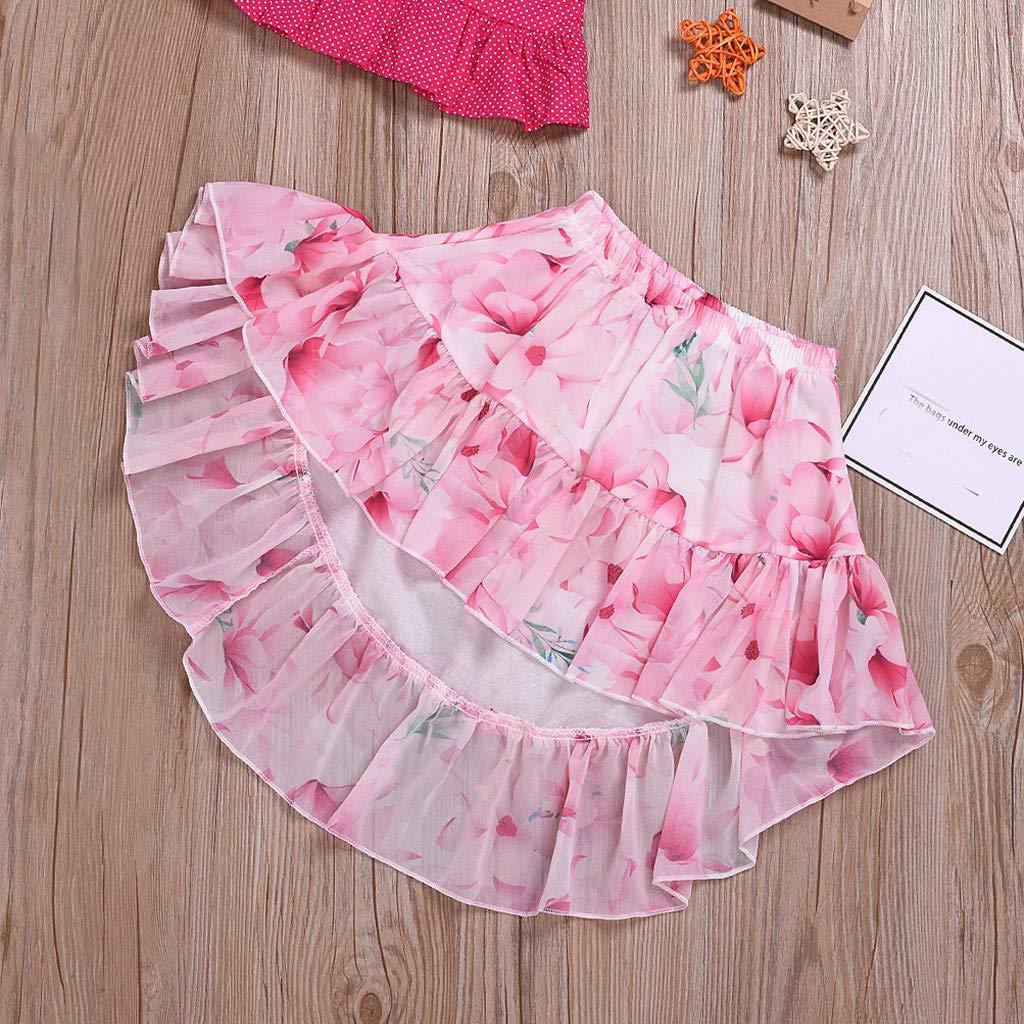 wuayi  Baby-Kleidung M/ädchen R/üschen Sling T-Shirt Tops Weste R/öcke mit Blumendruck Outfits Kleidung 1-5 Jahre