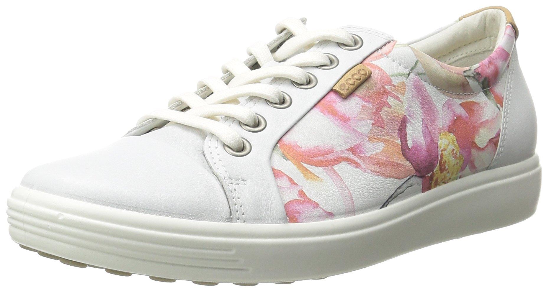 ECCO Footwear Womens Soft 7 Sneaker Oxford, White Floral Print/Powder, 41 EU/10-10.5 M US