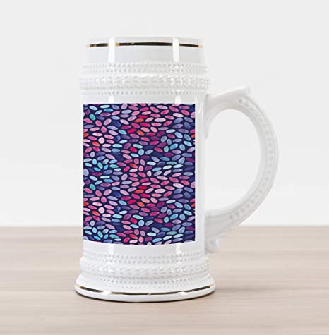 Lunarable Modern Beer Stein Mug, Contemporary Image Of Stone Like  Watercolor Circles Rounds On Dark