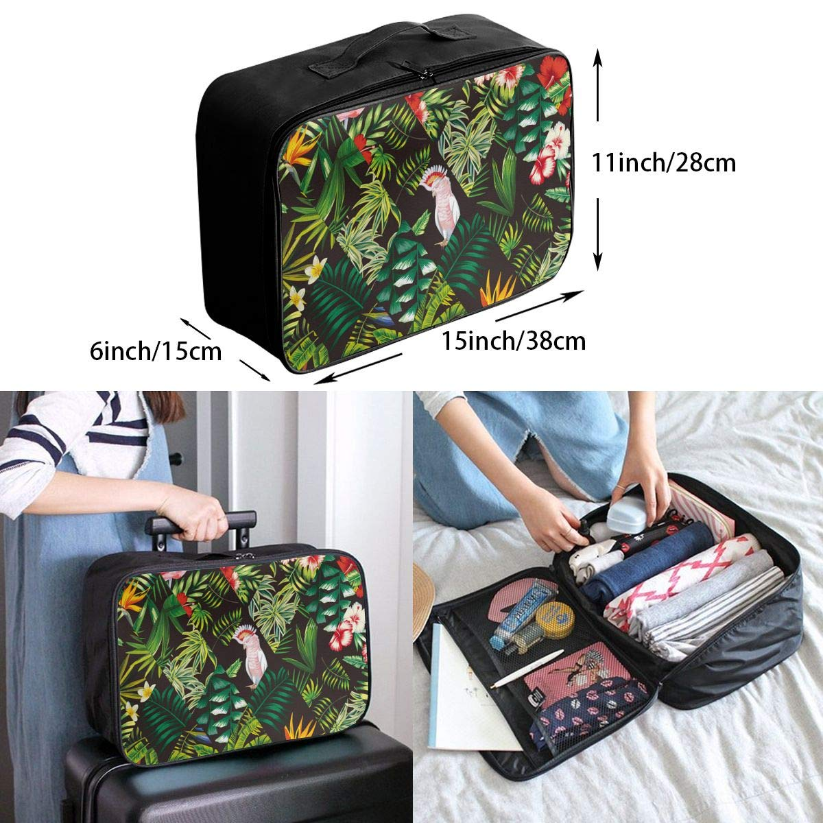 Women /& Men Foldable Travel Duffel Bag Parrot Pink Flamingo Palm Leaf For Luggage Gym Sports