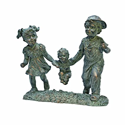 Design Toscano Swing Time Boy And Girl Garden Statue, 12 Inch By 6